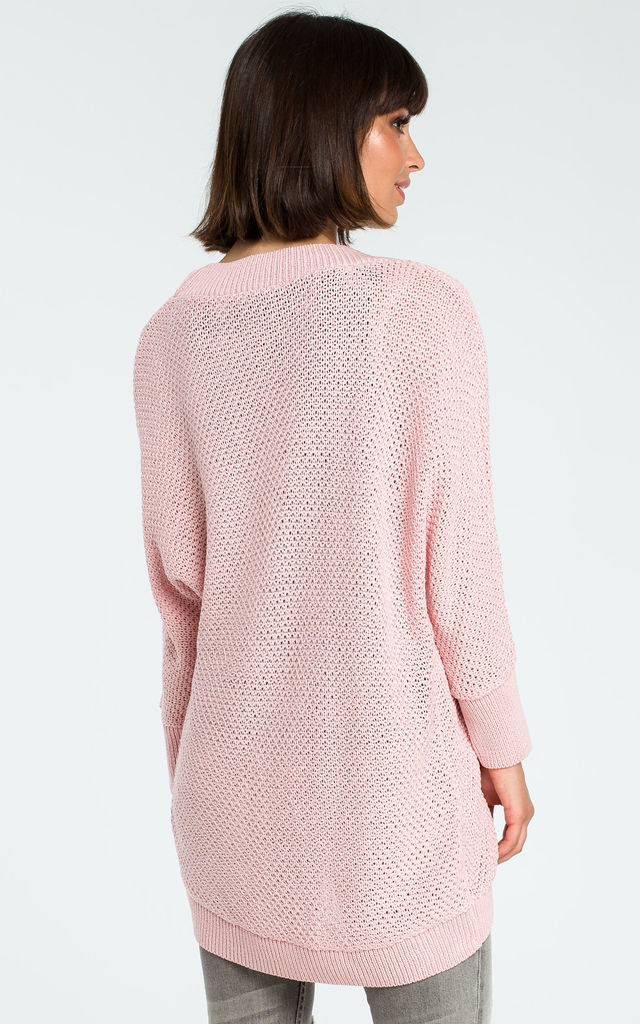Pink Loose Open Cardigan by MOE