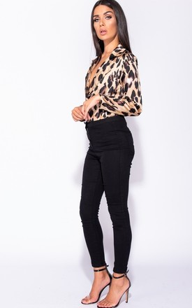 Leopard Print Wrap Front Satin Bodysuit - Black/Brown by AJ | VOYAGE