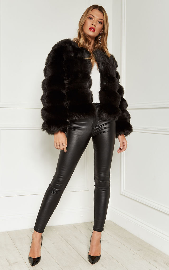 Black Pelted Faux Fur Coat by Bella and Blue