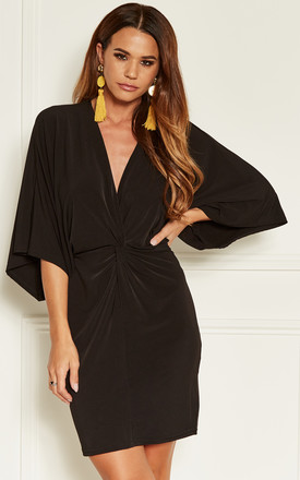 Black Twist Front Kimono Sleeve Mini Dress by John Zack Product photo