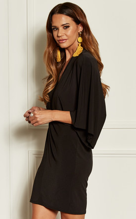 Black Twist Front Kimono Sleeve Mini Dress by John Zack