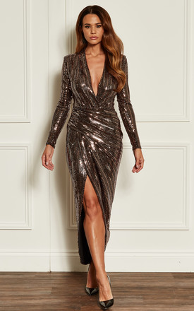 Rose Gold Deep V Wrap Over Sequin Dress by John Zack Product photo
