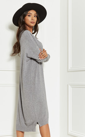 Light Grey Oversized Batwing Knit Dress by Bella and Blue