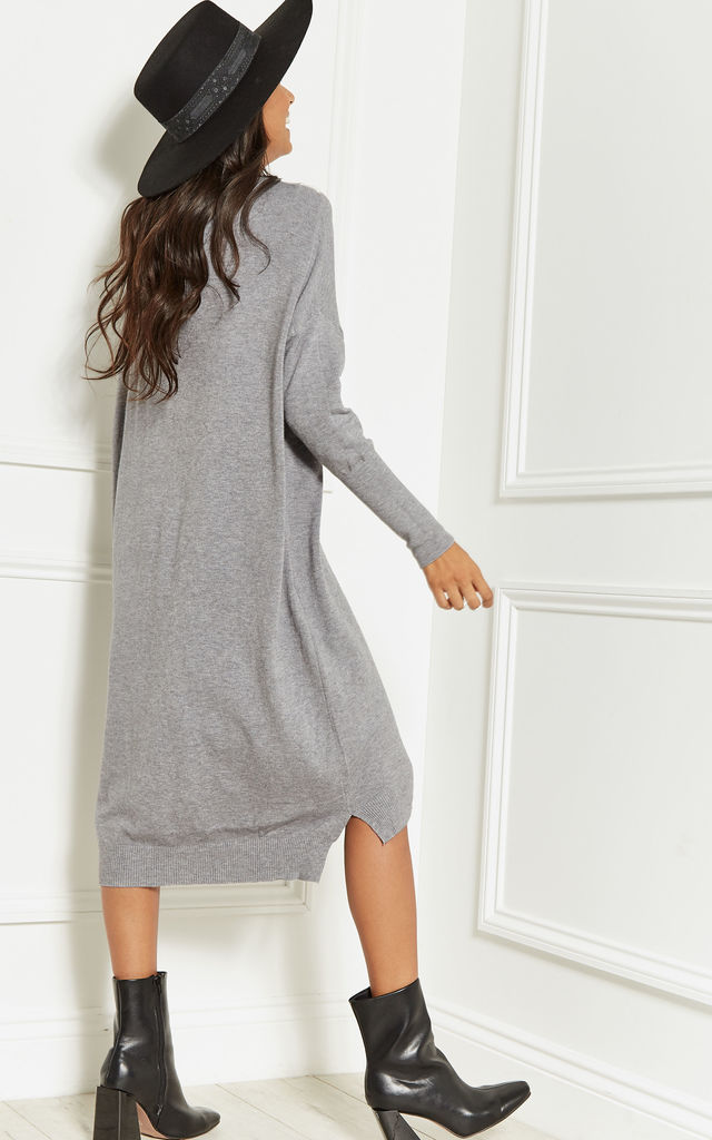 adee4abe57d Light Grey Oversized Batwing Knit Dress by Lilah Rose