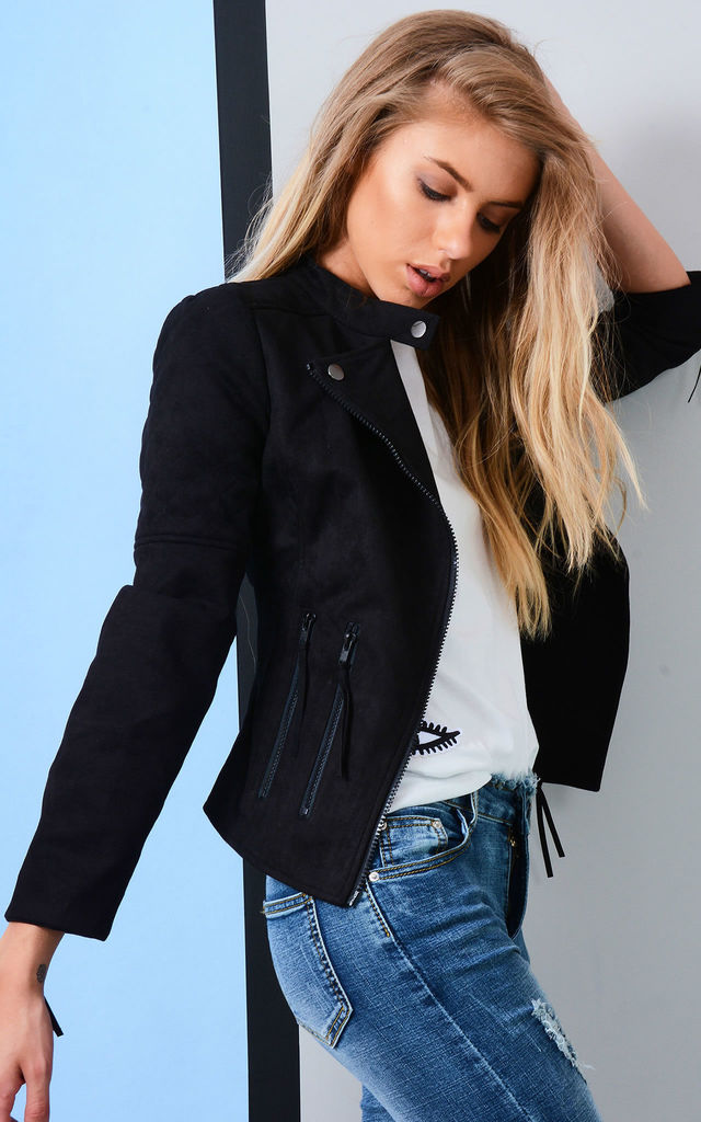 Black Suede Jacket With Zip And Pocket Detail by LOVEMYSTYLE