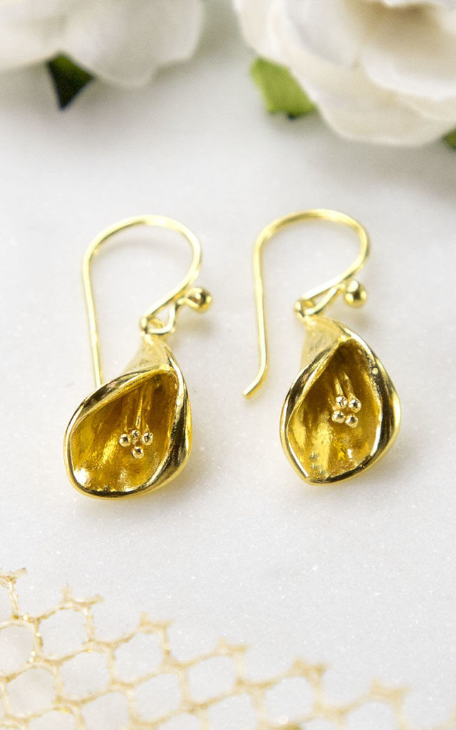 Gold Plated Sterling Silver Calla Lily Earrings by Martha Jackson Jewellery