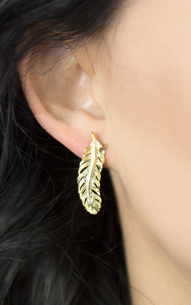 50d7bc3b8 Gold Plated Sterling Silver Feather Stud Earrings
