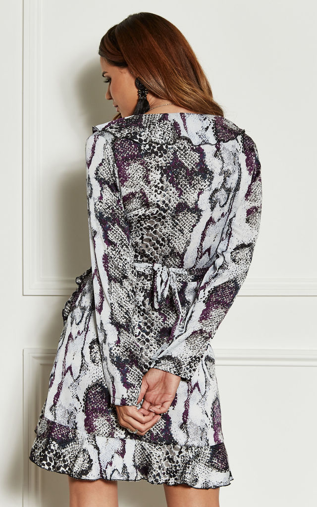 Purple Snake Print Wrap Frill Mini Dress by John Zack