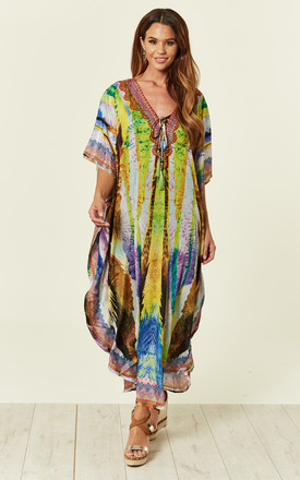 Lydia Deep V Maxi Kaftan with Long Sleeves by Kitten Beachwear