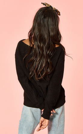 Black Wide Neck Long Sleeve Knit by Glamorous