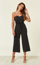 Sara Tie Front Culotte Jumpsuit In Black and White Stripe by Love