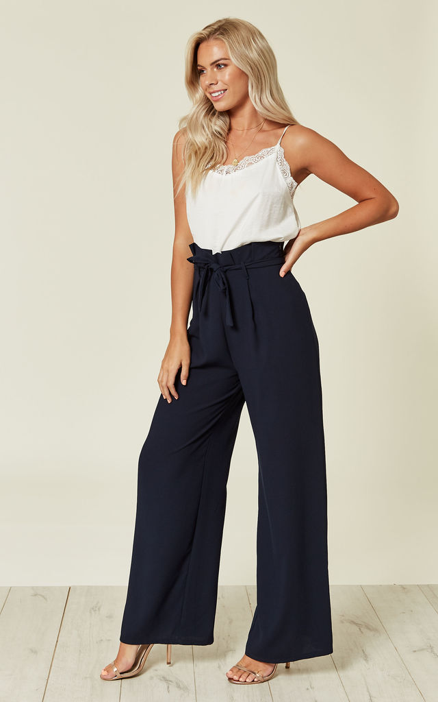 Navy Wide Leg Peg Frill High Waist Tailored Trousers by Love