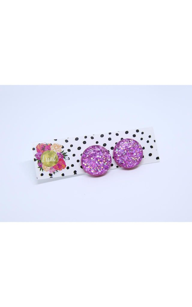 Candy Pink Sparkle Stud Earrings by Lual Earrings
