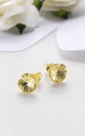 Gold Plated Sterling Silver Lily Pad Earrings by Martha Jackson Jewellery