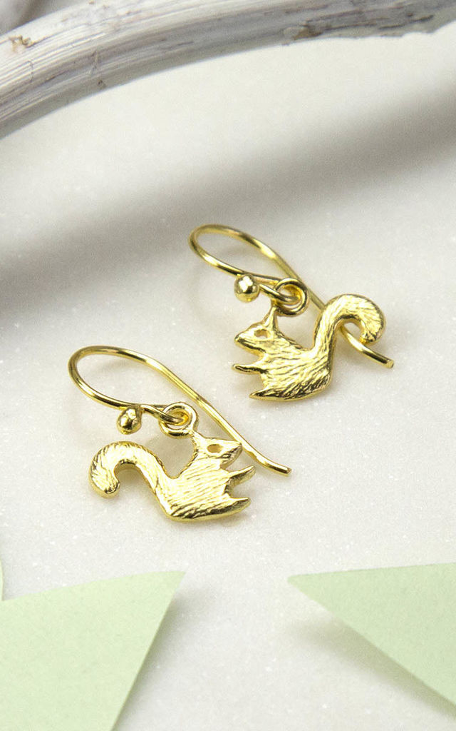Gold Plated Sterling Silver Squirrel Earrings by Martha Jackson Jewellery
