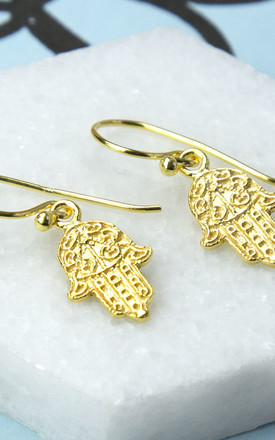 Gold Plated Sterling Silver Fatima Hand Earrings by Martha Jackson Jewellery