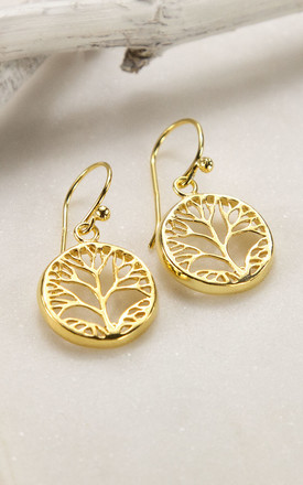 Gold Plated Sterling Silver Tree Earrings by Martha Jackson Jewellery