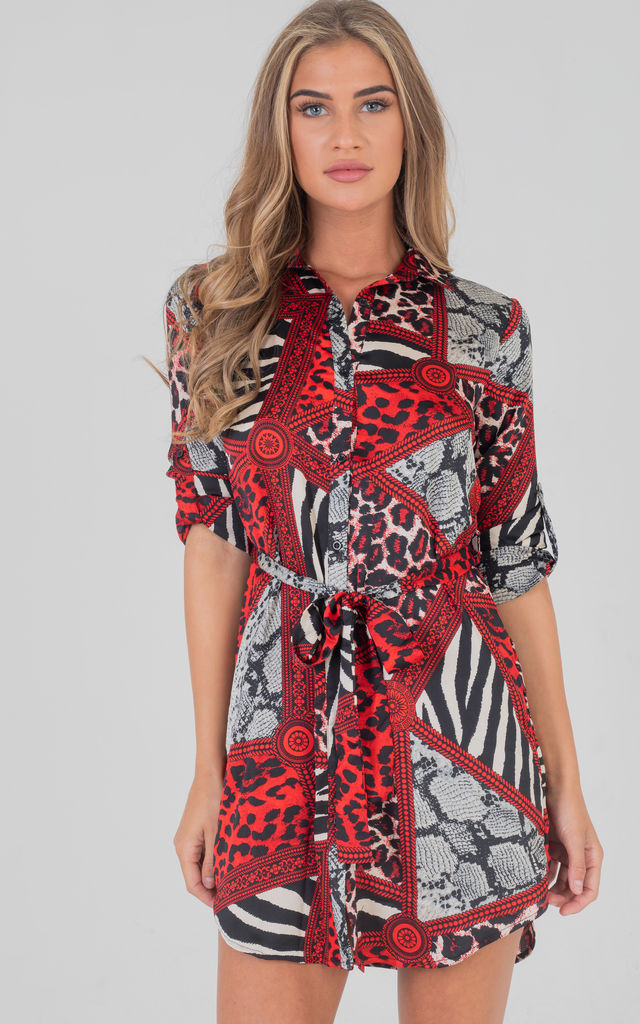 Tie Up Front Animal Print Long Sleeves Shirt Dress In Red by Saint Genies