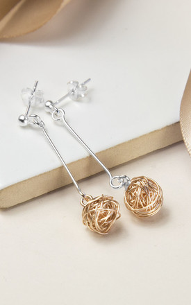 Sterling Silver And Rose Gold Kitten Ball Earrings by Martha Jackson Jewellery