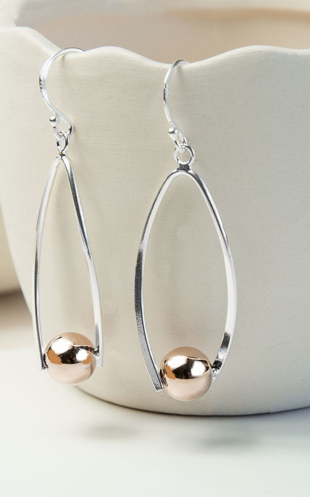 ec241a688 Silver And Rose Gold Contemporary Oval Earrings by Martha Jackson Jewellery