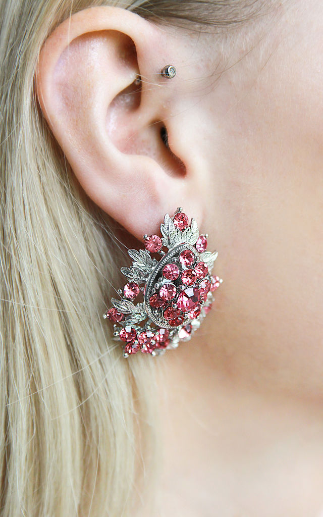 Pink Sparkle Statement Stud Earrings by Free Spirits