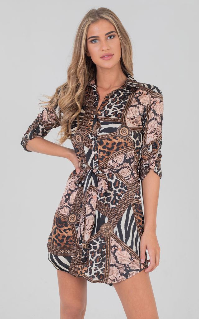 881f1cb9804 Tie Up Front Animal Print Long Sleeves Shirt Dress In Neutral Brown by  Saint Genies