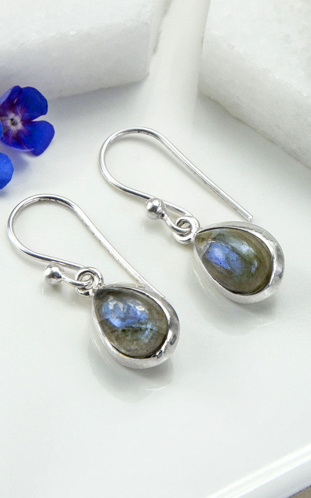 Sterling Silver Labradorite Teardrop Earrings by Martha Jackson Jewellery