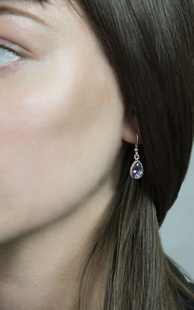 Sterling Silver Amethyst Teardrop Earrings by Martha Jackson Jewellery