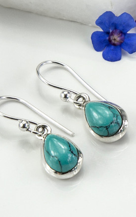 Sterling Silver Turquoise Teardrop Earrings by Martha Jackson Jewellery