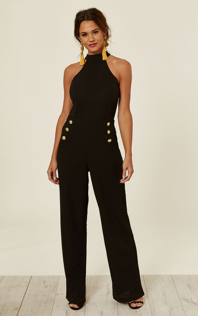 4993dd83aa2a Black Halterneck Jumpsuit With Military Buttons