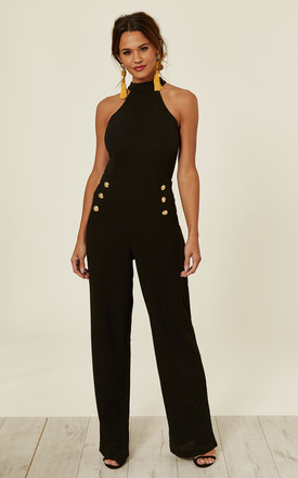 c2e792fe79 Black Halterneck Jumpsuit With Military Buttons