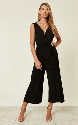 Black Culotte Pleated Tie Waist Jumpsuit by AX Paris Product photo