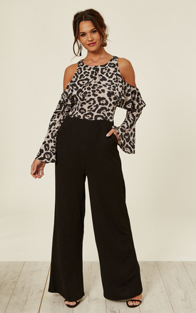 4e5f4c2ae01 Leopard Print Cold Shoulder Jumpsuit With Ruffle Detail