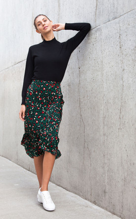 Dark Green Leopard Frill Midi Skirt by Styled In London