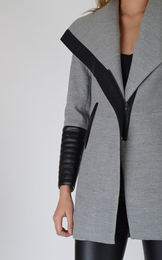 Grey Wool Coat With Faux Black Leather Arms by LOVEMYSTYLE
