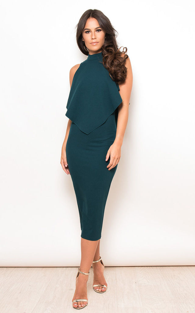 Zara High Neck Frill Top Midi Dress Emerald by Girl In Mind
