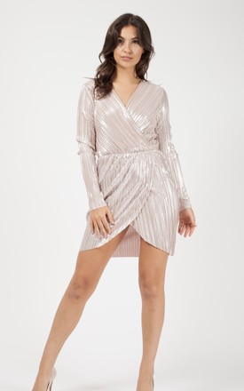 Jessie Metallic Pleated Wrap Over Front Mini Dress In Nude by Vivichi Product photo