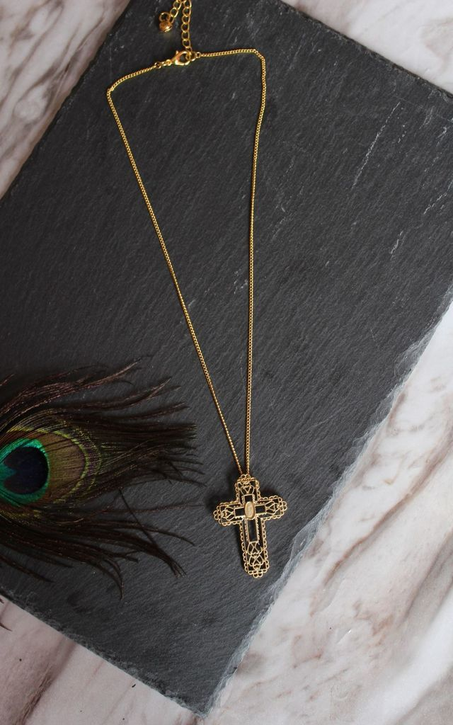 Baroque gold cross layering necklace by Kate Coleman