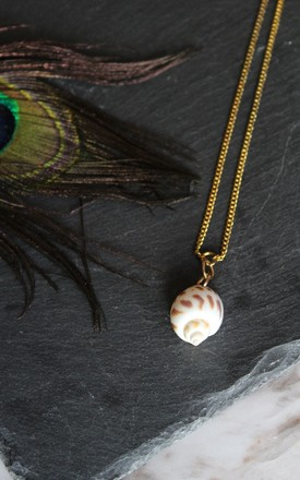 Shell charm gold layering necklace by Kate Coleman