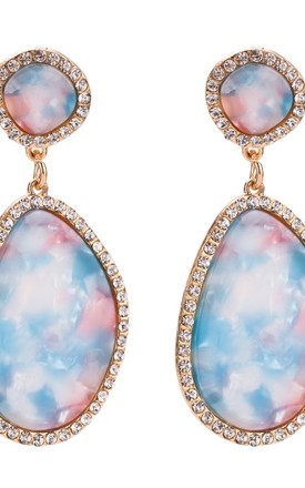 Blue and Pink Pastel Resin Earrings by Olivia Divine Jewellery