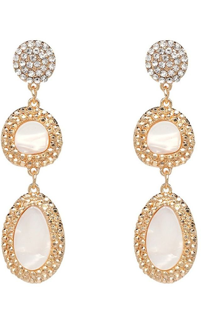 Pearlised Resin and Crystal  Drop Earrings by Olivia Divine Jewellery