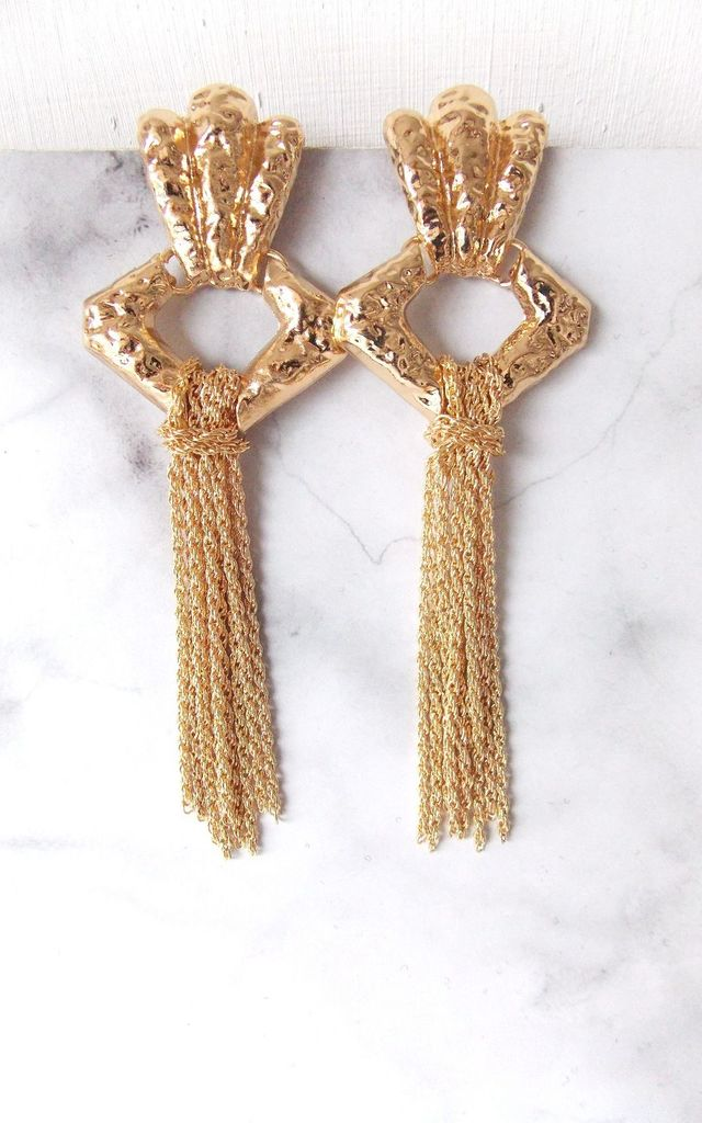 Over-Sized Gold Tassel Chain Statement Earrings by Olivia Divine Jewellery
