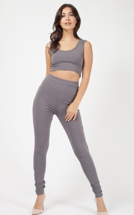 Kaira Ribbed Crop Top & Trouser Co Ord In Grey by Vivichi