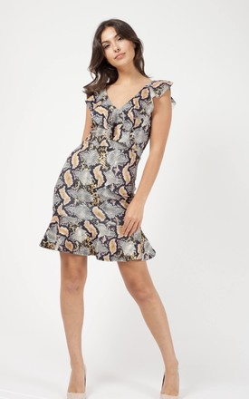 Kenley Snake Print Frill Dress In Snake Print by Vivichi Product photo