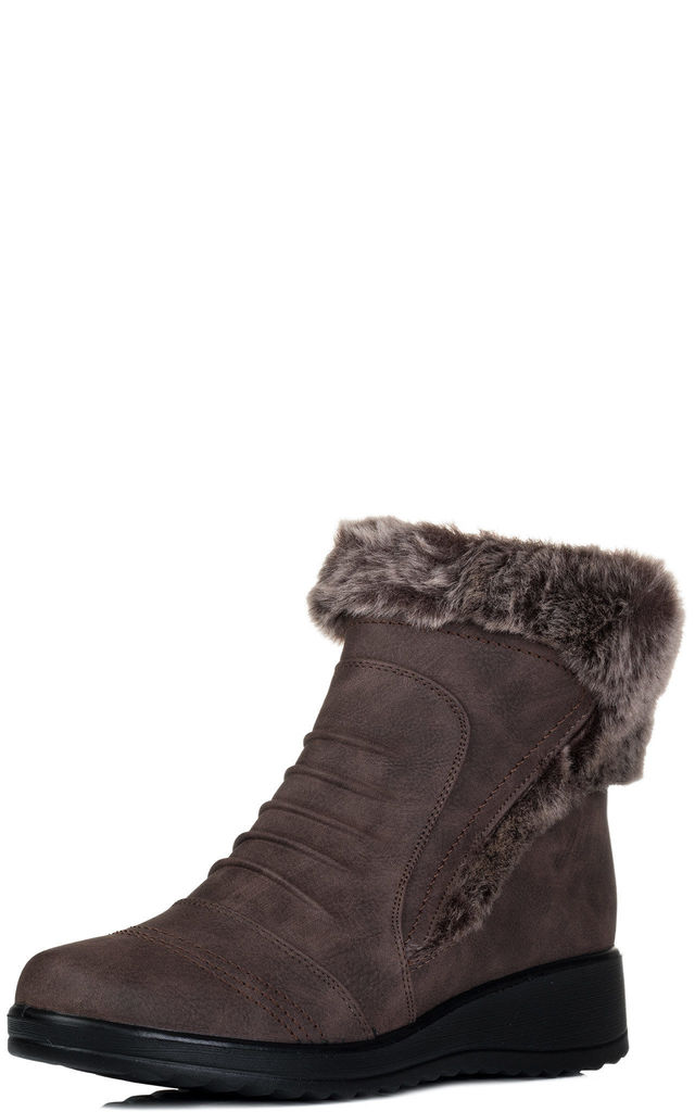 WOVERINA Synthetic Fur Wedge Heel Ankle Boots Shoes - Brown Leather Style by SpyLoveBuy
