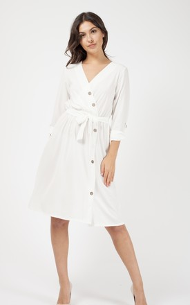 Kaelyn Button Detail Wrap Front Midi Dress In Cream by Vivichi Product photo