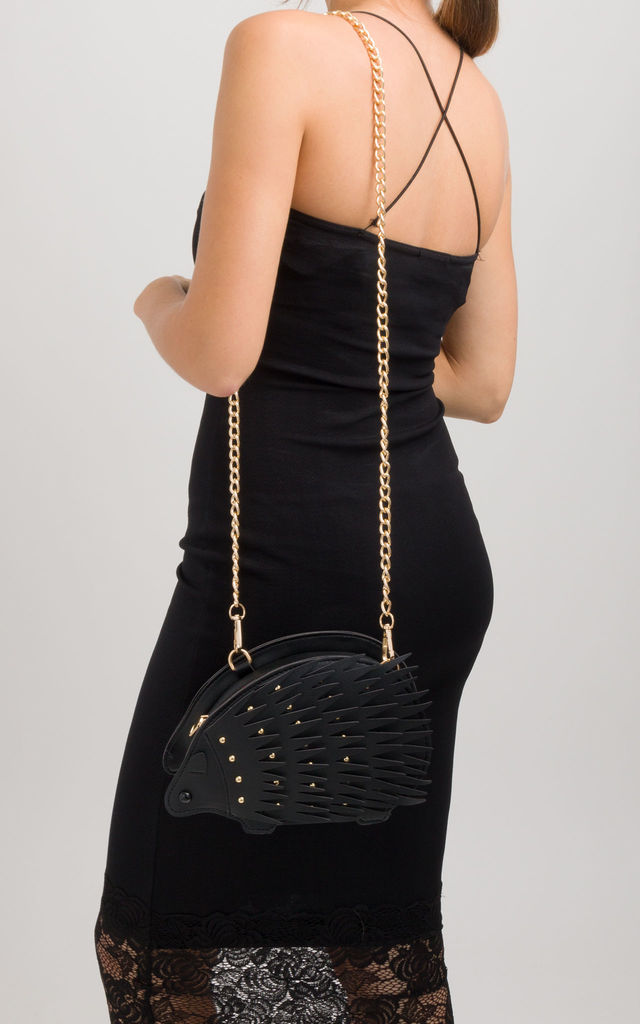 Black Hedgehog Studded Faux Leather Crossbody Bag by KoKo Couture
