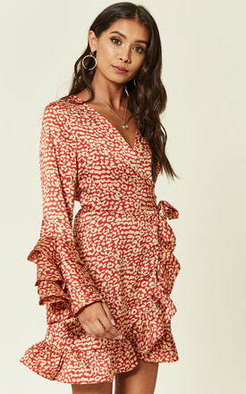 Triple Ruffle Silky Rust Leopard Wrap Dress by Foreva Young