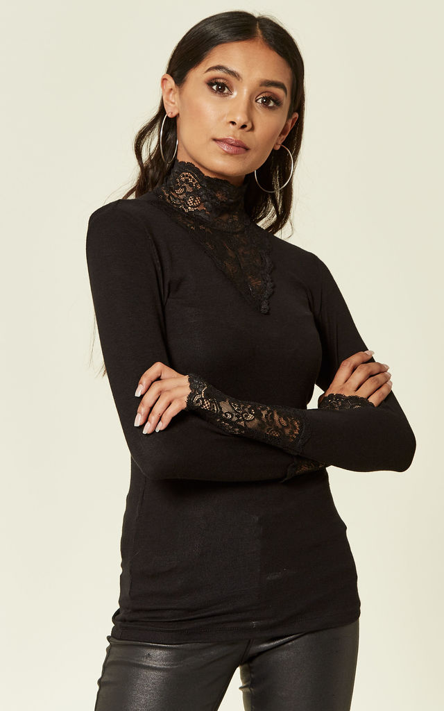 Black High Neck Top With Lace Detail by VM