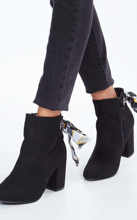 AUDREY – Ribbon Back Ankle Black Boots by Blue Vanilla